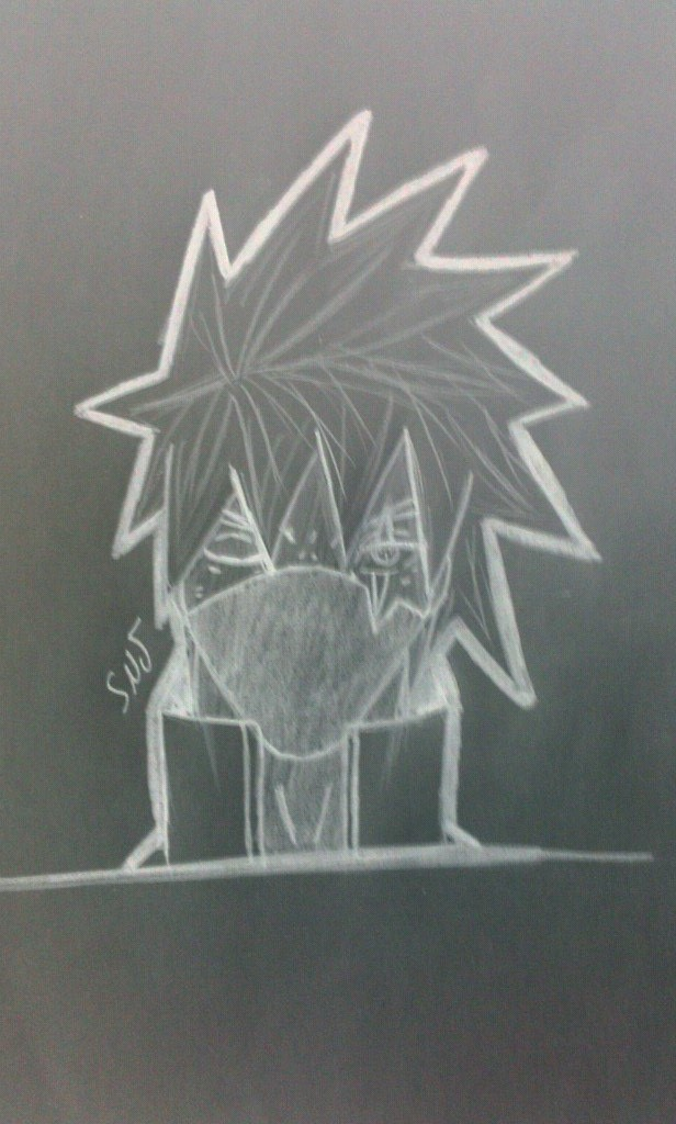 kakashi dessin crayon blanc sur papier noir par senjith. Black Bedroom Furniture Sets. Home Design Ideas